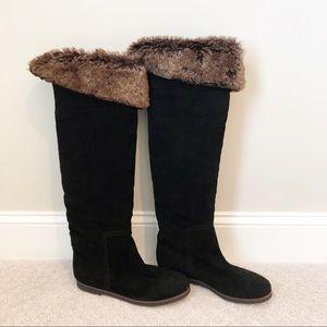 Sam Edelman Black Suede Fur Riding Boots